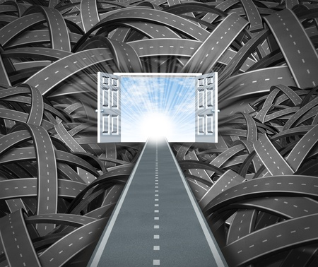 tunnel vision: Focus on success and financial freedom ignoring the business obstacles that get in your way as an unstopable determined straight road leading to open doors to a blue sky and sun escaping the negative chaos of twisted confused path ways.