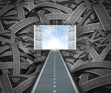 leading the way: Focus sul successo e la libert� finanziaria ignorando gli ostacoli commerciali che ottengono nel vostro cammino come un inarrestabile determinata strada dritta che porta ad aprire le porte ad un cielo blu e sole sfuggire al caos negativo di percorsi contorti modi confusi. Archivio Fotografico