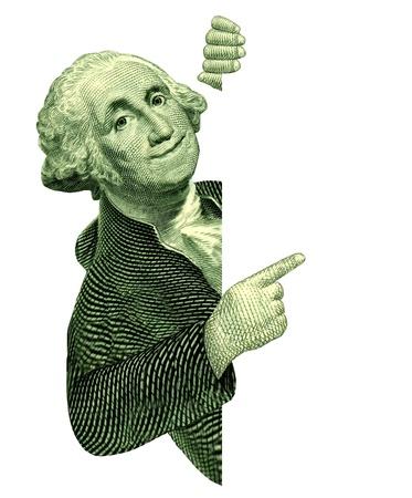 george washington: George Washington con una muestra en blanco que apunta a un anuncio sobre un fondo blanco como s�mbolo de American Vintage de los ahorros o de oferta de valor especial, como una comunicaci�n sobre los asuntos de las finanzas y los negocios o la moneda.
