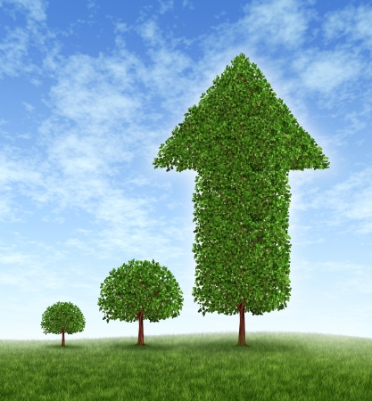 financial goals: Growing Investment and financial success with long term conservative money planning and wealth management with an investing strategy represented by a young tree growing to a huge plant with an arrow pointing up.