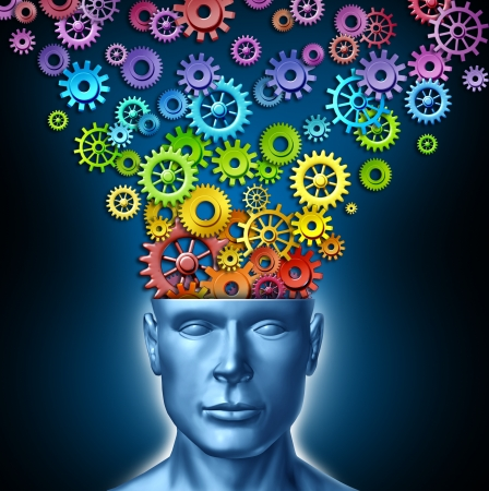 Human imagination and creative man as the intelligent brain with a front facing human head that has rainbow spectrum colored gears and cogs expressing itself out of the persons mind as a symbol of artistic design innovation and new thinking in business le