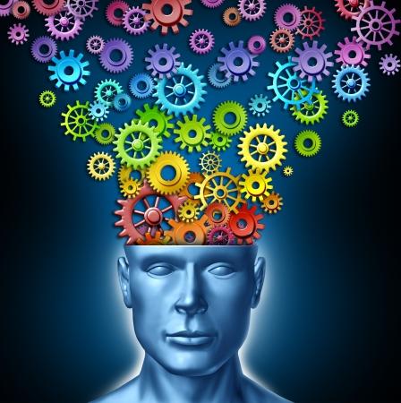 new thinking: Immaginazione umana e l'uomo creativo come il cervello intelligente con un fronte rivolto verso la testa umana che ha ingranaggi dello spettro di colore arcobaleno e ingranaggi che si esprime dalla mente persone come simbolo di innovazione e design artistico nuovo modo di pensare nel mondo degli affari le Archivio Fotografico