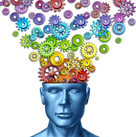 brain: Imagine and invent as human imagination and creative man as the intelligent brain with a front facing head with rainbow spectrum colored gears and cogs out of the persons mind as an artistic design thinking in business leadership.
