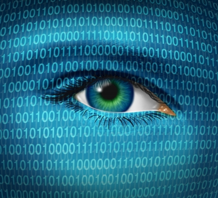 인간의 눈과 디지털 이진 코드 해커의 감시를 나타내는 나 방화벽과 웹 사이트에 대한 액세스가 금지 시청 사이버 범죄자로부터 해킹과 인터넷 보안  스톡 콘텐츠