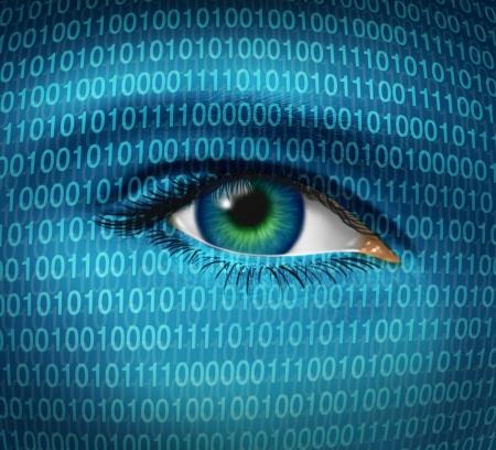 hacking: Internet questioni di sicurezza e privacy, con un occhio umano e un codice binario digitale che rappresenta la sorveglianza di hacker o hackerare dai criminali informatici guardare vietato l'accesso a siti web con i firewall.