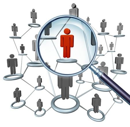 conclusion: Búsqueda de empleo y la contratación de elección de carrera concepto de empleo con los iconos humanos conectados en una red y un carácter de hombre de negocios roja en una lupa como símbolo de la contratación de servicios de Internet y la búsqueda de clientes.