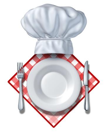 šéfkuchař: Restaurace designový prvek s deskou a kuchař klobouk a vidlička s nožem na prázdné místo pro text a bílé pozadí na ubrus pro večeře a vaření potravin, dodavatelů nebo jídelnách a stravovacích služeb, kteří slouží a uspokojí hladové zákazníky. Reklamní fotografie