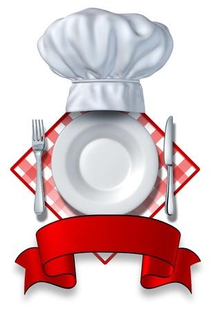 배고픈 고객에 맞춰 저녁 식사 및 식품 업체 또는 식당과 요리사의 테이블 천으로 흰색 배경에 텍스트에 대 한 빈 영역 판과 모자와 포크와 나이프 레