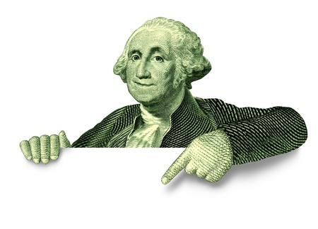george washington: Ahorro financiero muestra en blanco con George Washington que apunta a un anuncio sobre un fondo blanco como s�mbolo de American Vintage de las inversiones y la oferta de la riqueza para ganar m�s dinero y hacerse rico. Foto de archivo