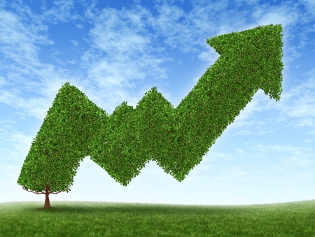 Stock market growth and success with a growing green tree in the shape of a stock investment graph showing the potential value of equities in trading and resulting in uptrend financial successful business wealth reaching for high goals. photo