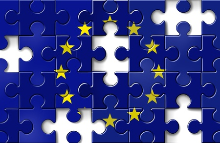 default: Europe crisis with the European flag in a jigsaw puzzle with peices missing as a financial crisis that needs banking assistance and loan guarantees to avoid default from countries like Greece Italy Spain France. Stock Photo