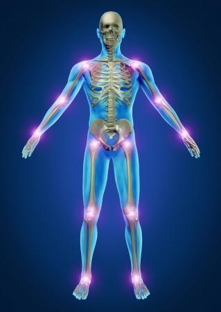 artritis: Humanos dolor en las articulaciones con la anatomía del esqueleto del cuerpo con el dolor en las articulaciones que brillan como el dolor y la lesión o enfermedad de la artritis símbolo para el cuidado de la salud y los síntomas médicos.