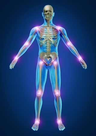 scheletro umano: Umani dolori articolari con l'anatomia dello scheletro del corpo con le articolazioni dolenti incandescente come una sofferenza, infortunio o malattia l'artrite simbolo per l'assistenza sanitaria e sintomi medici.