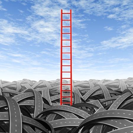 perplexing: De soluciones y estrategia de romper y escapar de los problemas de negocio y los retos financieros con una escalera de color rojo que sale de una pila de paisaje de caminos enredados en un cielo azul.