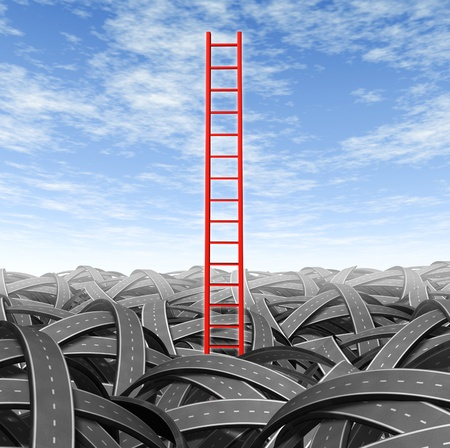 new path: Solution and strategy breaking out and escaping from business problems and financial challenges with a red ladder coming out from a landscape pile of tangled roads on a blue sky.