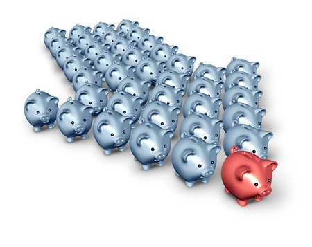 Financial advice and business direction for savings and retirement with an organised group of piggy banks in the shape of an arrow with one piggy bank leader in red and the followers in grey. Stock Photo - 12353897