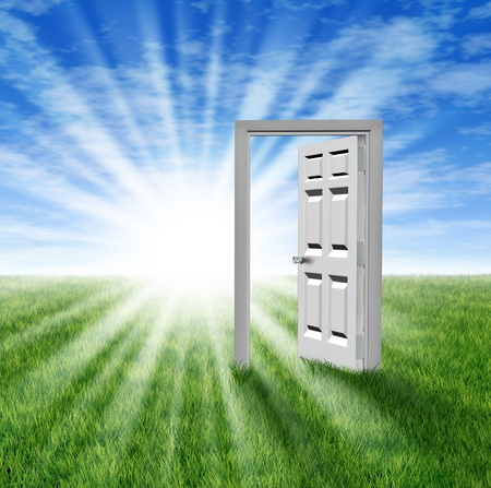 new opportunity: Goals and aspirations as a door to opportunity with a grass field  and an open doorway entrance to success and freedom showing a glowing light of hope and prosperity for the future or an icon for retirement planning.