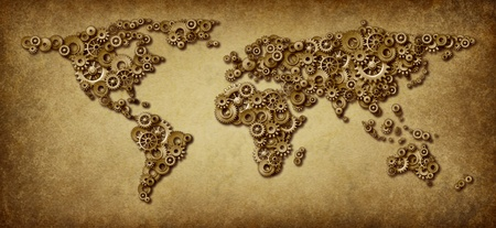 International economy old grunge map of world business connections on a global networking scale with gears and cogs in the shape of countries as america asia europe australia and africa.
