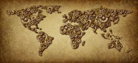 L'économie internationale grunge ancienne carte des connexions du monde des affaires à l'échelle mondiale en réseau avec des engrenages et rouages ??dans la forme des pays comme l'Amérique Asie Australie Europe et l'Afrique. Banque d'images - 12353908