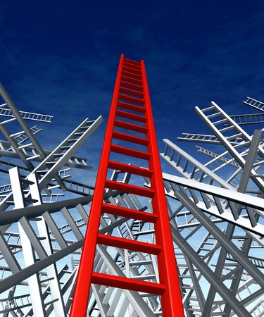 Lead and teach answers and solutions to complex problems as shown with the climbing the ladder metaphor with a confusion problem  and a clear successful business innovative strategy and new ideas.. Stock Photo