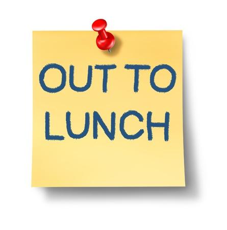 werk: Out to lunch kantoor notitie met een geel papier en rode punaise als een icoon van de pauze van het werk en zakelijke of financiële symbool van irresponsability en nalatigheid van rechten en niet het geven van uw aandacht. Stockfoto