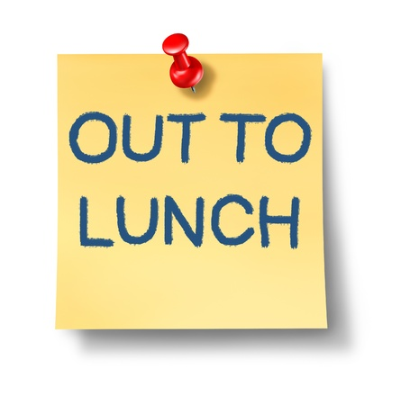 Out to lunch office note with a yellow paper and red thumb tack as an icon of break time from work and business or a financial symbol of irresponsability and negligence from duties and not giving your attention. Stock Photo - 12353891