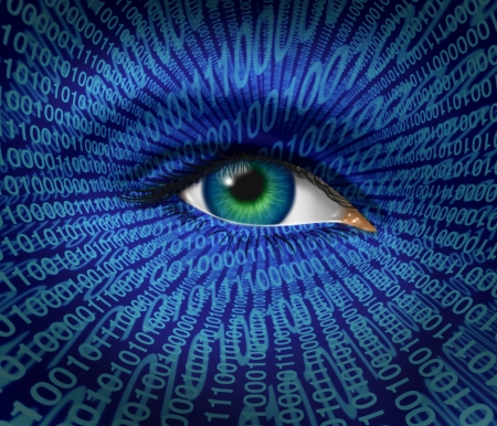 private access: Technology security and Internet safety and privacy issues with a human eye and digital binary code as surveillance of hackers or hacking from cyber criminals watching prohibited private access to web sites with firewalls. Stock Photo