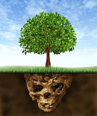 caused: Toxic soil and environmental health risks caused by pollution in the earth hidden underground as a skeleton skull shaped earth with a green tree gtrowing above showing the hazards of polluted nature.