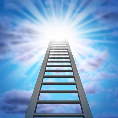 登る: 企業のはしごと空と財政の富の機会と仕事の昇進または達成のための吸引を示す輝く輝く光と成功への上昇