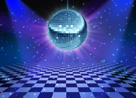 Dance floor disco night with a mirror ball symbol of fun and dancing party in a nightclub or dance club with glowing stage lights and wall reflexions and checkered floor