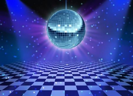 Pista de baile de noche del disco con un símbolo de bola de espejos de diversión y fiesta de baile en una discoteca o club de baile con luces del escenario que brillan intensamente y reflexiones de pared y piso a cuadros