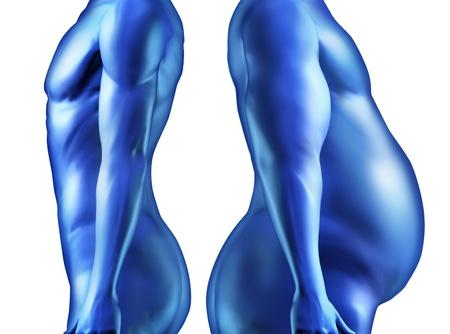 Pérdida de peso dieta y el cuerpo humano con una persona en forma saludable y una grasa obesos lado overwieght individual por un lado como una comparación de la forma del cuerpo, como el bienestar físico y la salud en lo que respecta a la aptitud de la anatomía Foto de archivo