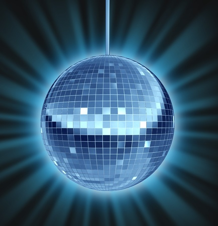 Disco ball dance night as a mirror ball symbol of fun and a groovy party in a nightclub or dancing club as a celebration to let loose and enjoy the groove of the music