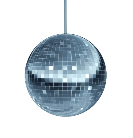 Disco ball as a mirror ball symbol of fun and dance party in a nightclub or dancing club as a celebration to let loose and enjoy the groove of the cool music beat  Archivio Fotografico