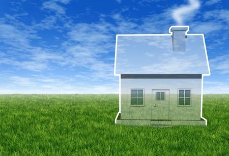 Dream Home: Traumhaus Vision mit einer imagin�ren Meer durch transluzente Haus auf einem blauen Himmel und Gras als Immobilien-Plan und Hoffnung auf eine Zukunft Familienwohnsitz