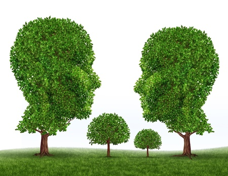 Green Family symbol with trees in the shape of a mother father son and daughter as icons of raising children with a healthy living lifestyle in a clean safe natural environment Stock Photo - 12353927