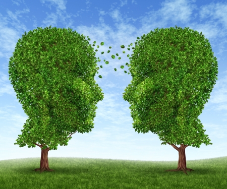 connection: Growing partnership and teamwork communication in business with two trees in the shape of human heads on a blue sky growing together with leaves exchanging from one face to the other as a concept of cooperation