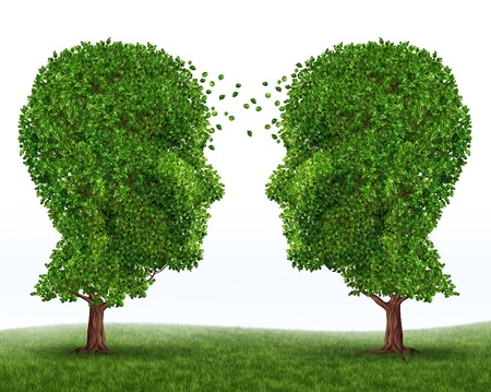 deep roots: Growth and communication business symbol of partnership and financial teamwork with two trees in the shape of human heads growing together for strong success and future wealth