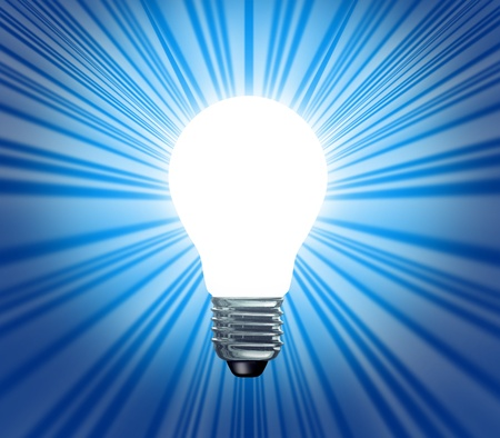 Idea symbol of a light bulb shape with a blank white area glowing and shinning bright as an icon of new powerful creative business concepts and successful inovations as techcnological inventions  photo