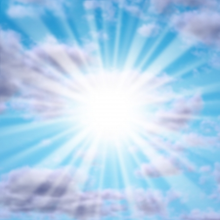 happier: Silver lining in the clouds with a glowing sun or star as a powerful natural symbol of inspiration and positive motivation for a better happier life in the future  Stock Photo