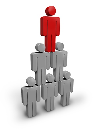 guiding: Team Leader business concept with human characters grouped in a winning pyramid formation with a red director manager at the top guiding the team to success and financial wealth on a white background