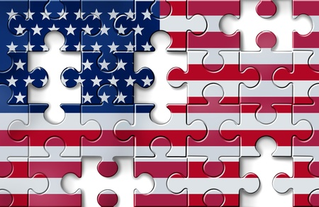 housing problems: US crisis with the American flag in a jigsaw puzzle with peices missing as a financial crisis that needs banking assistance and loan guarantees to avoid economic problems due to the mortgage and housing industries