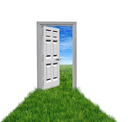New opportunities as goals and aspirations with white background and door with a grass field  and an open doorway entrance to success and financial freedom taking the chance to wealth and happiness