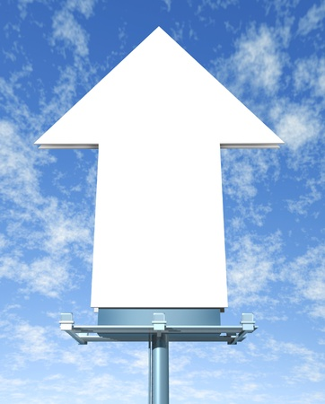 Blank arrow billboard on a blue sky Stock Photo - 12667488
