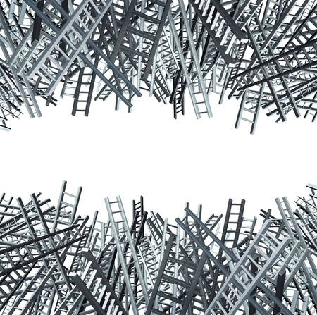 Business confusion and confusing financial options available with a large group of ladders Stock Photo - 12667504