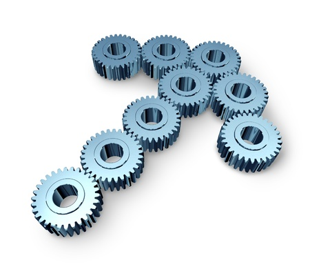 Business team opportunity with industrial metal gears