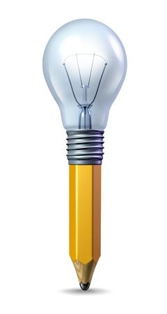 pensamiento creativo: Icono con un lápiz y una bombilla de luz se casó juntos como un símbolo de la creatividad y la innovación