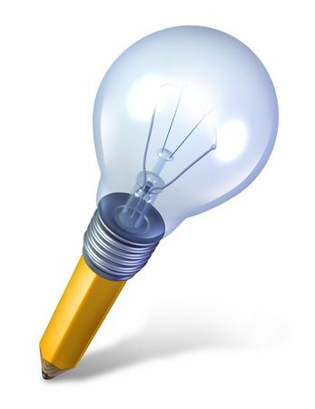 iluminados: Herramienta creativa y el icono de las ideas con un lápiz en ángulo y una bombilla fundida juntos como un símbolo de la creatividad y la innovación