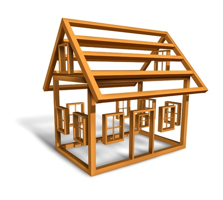 Home construction with the wood frame structure Stock Photo - 12667485