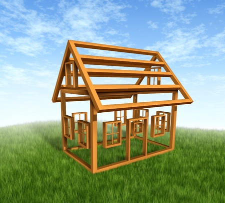 House construction with the wood frame structure  photo